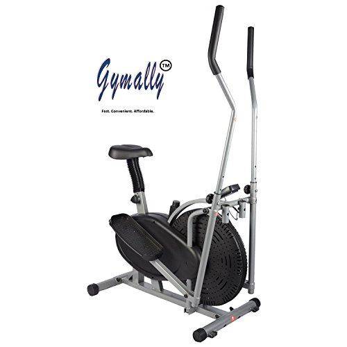 Gymally 2 in 1 Orbitrek (pedaling sitting / paddle standing), elliptical trainer with seat