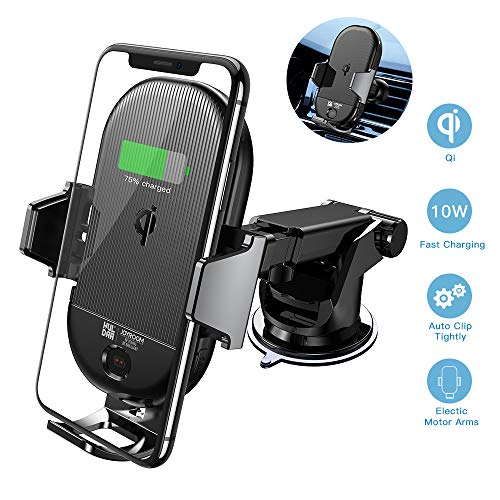 Wireless car charger mount, JOYROOM QI Fast charging infrared induction clamping mount, Car air vent mount, Support ...
