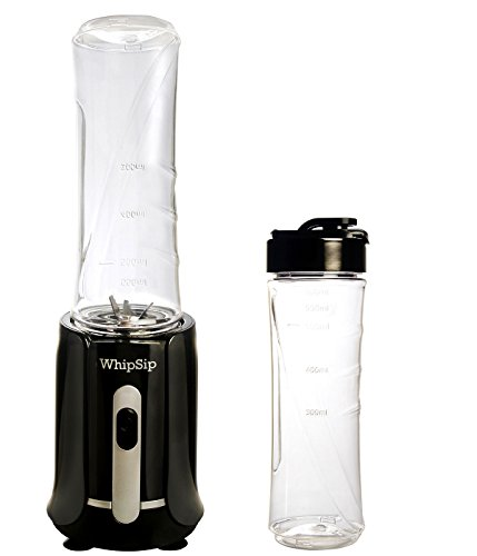 Personal Whipsip Blender for Protein Shake Maker with 2 large portable sports bottles, black
