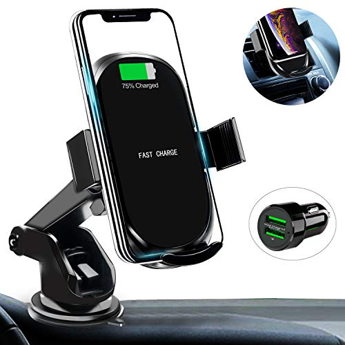 Wireless car charger holder with USB car charger adapter Quick support for Qi fast charging car phone Compatible with iPhone Xs / Xs Max / XR / X / ...