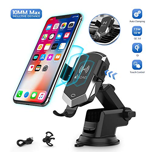 Wireless car charger mount, 10MM Maximum inductive distance from the box Manual tightening 10W / 7.5W Fast phone charging holder Support ...