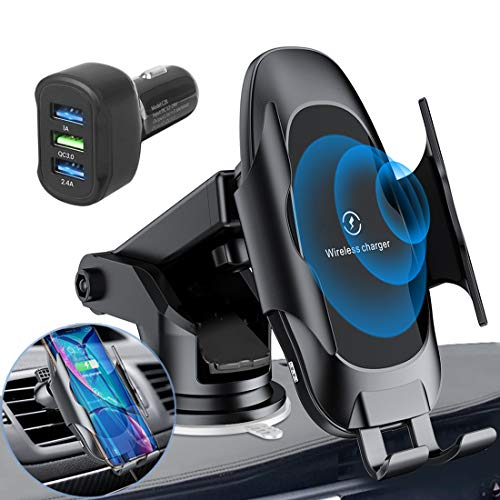 Self-tightening Wireless Homder Car Charger Mount, 10W / 7.5W Qi Fast Car Charging, Panel Air Vent Phone Holder with QC 3.0 Quick Charger, ...