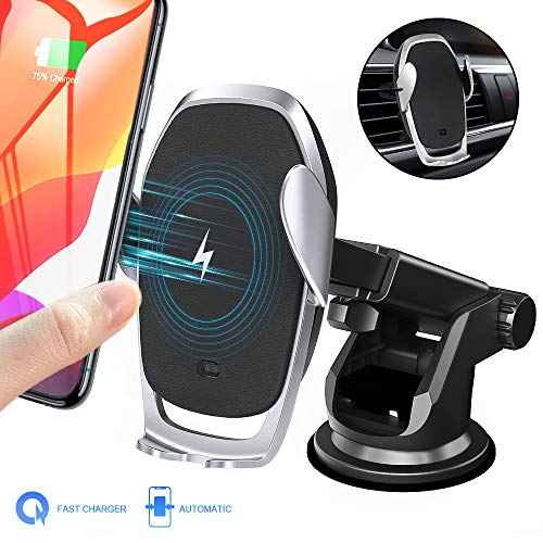 Wireless Moskee car charger mount, automatic tightening, Qi 10W 7.5W fast charging, air vent phone holder Compatible with iPhone Xs / Xs Max / XR / X / 8/8 Plus, Miyababy ...