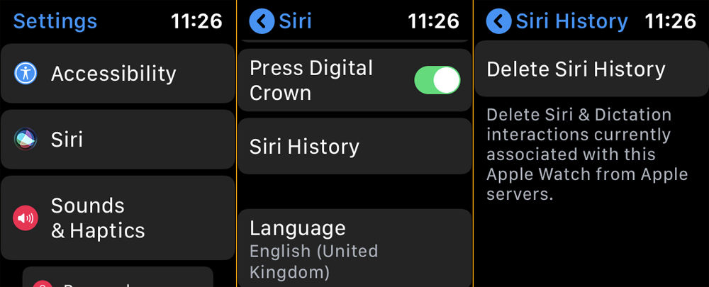 How to delete Siri data and history: Apple Watch settings