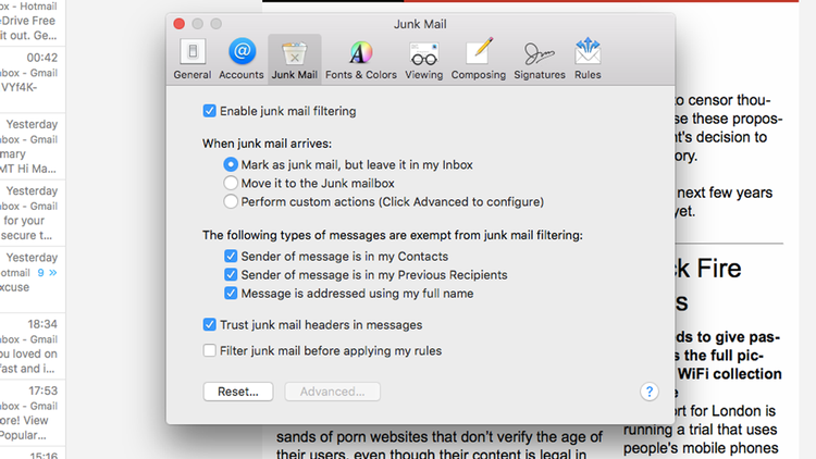 how to filter spam in Mac Mail