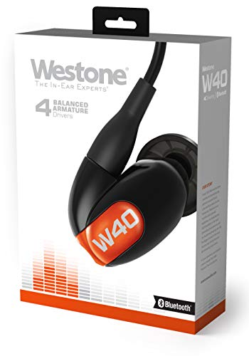 Westone W40 with Bluetooth cable True-Fit headphones with four drivers and silver high-definition MMCX cable