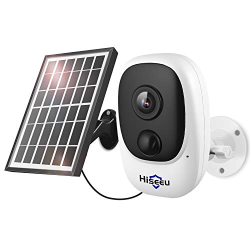 1080P Wireless Solar Camera, External Security Camera, Remote Control for Applications, Bidirectional Audio, Motion Alert, Rechargeable Batteries, Waterproof IP65, Night Vision, 2.4 GHz WiFi, Encrypted Cloud Storage and SD Storage 32 GB