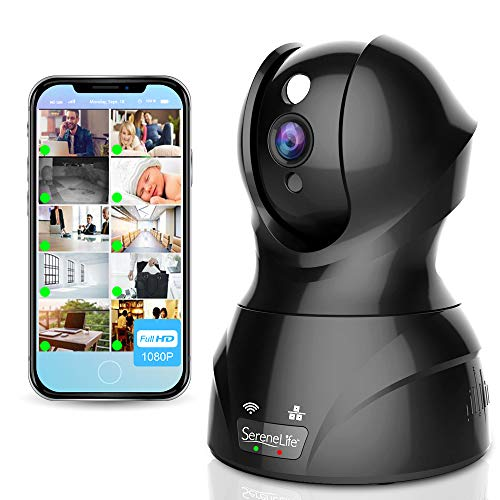 SereneLife Wireless Indoor IP Camera - Home surveillance surveillance in HD 1080p network security with motion detection, night vision, PTZ, 2 ...
