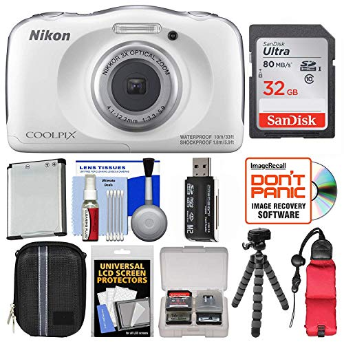 Nikon Coolpix W100 Wi-Fi Shock and Waterproof digital camera (white) with 32GB card + case + battery + flexible tripod ...