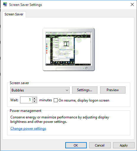 customize the selected screen saver by clicking Settings